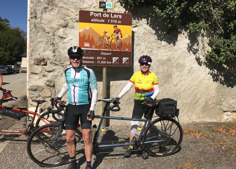 Vince Sikorski and Susan Maasch prepare to ride bicycles in France
