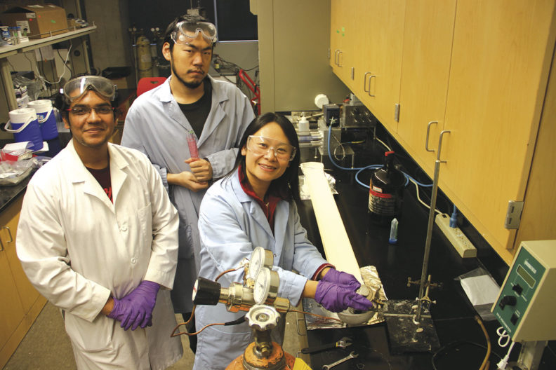 Badrul Haque, Wangcheng Liu, and Hang Liu in their WSU lab