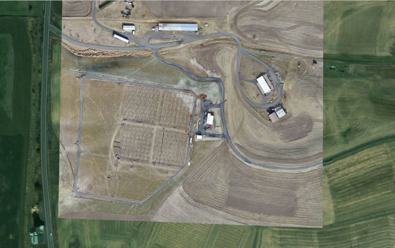 Aerial view of WSU Spillman Farm and Tukey Orchard