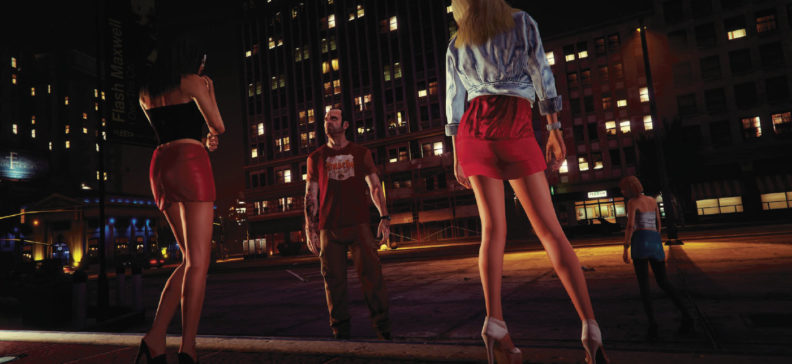 Grand Theft Auto 5 screenshot of man looking at two women in short skirts