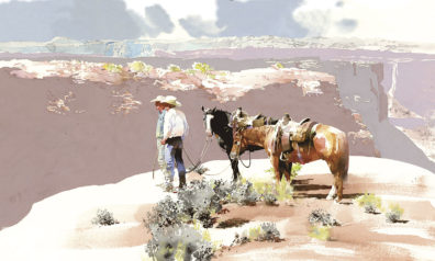 Watercolor painting of two cowboys and their horses next to a canyon