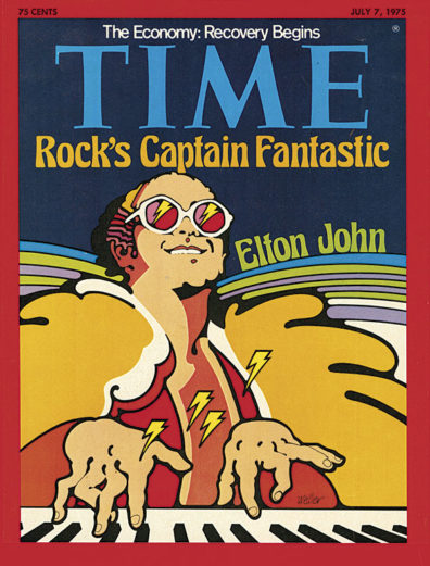 Cover of Time magazine, July 7, 1975, designed by Don Weller and featuring an illustration of Elton John playing piano