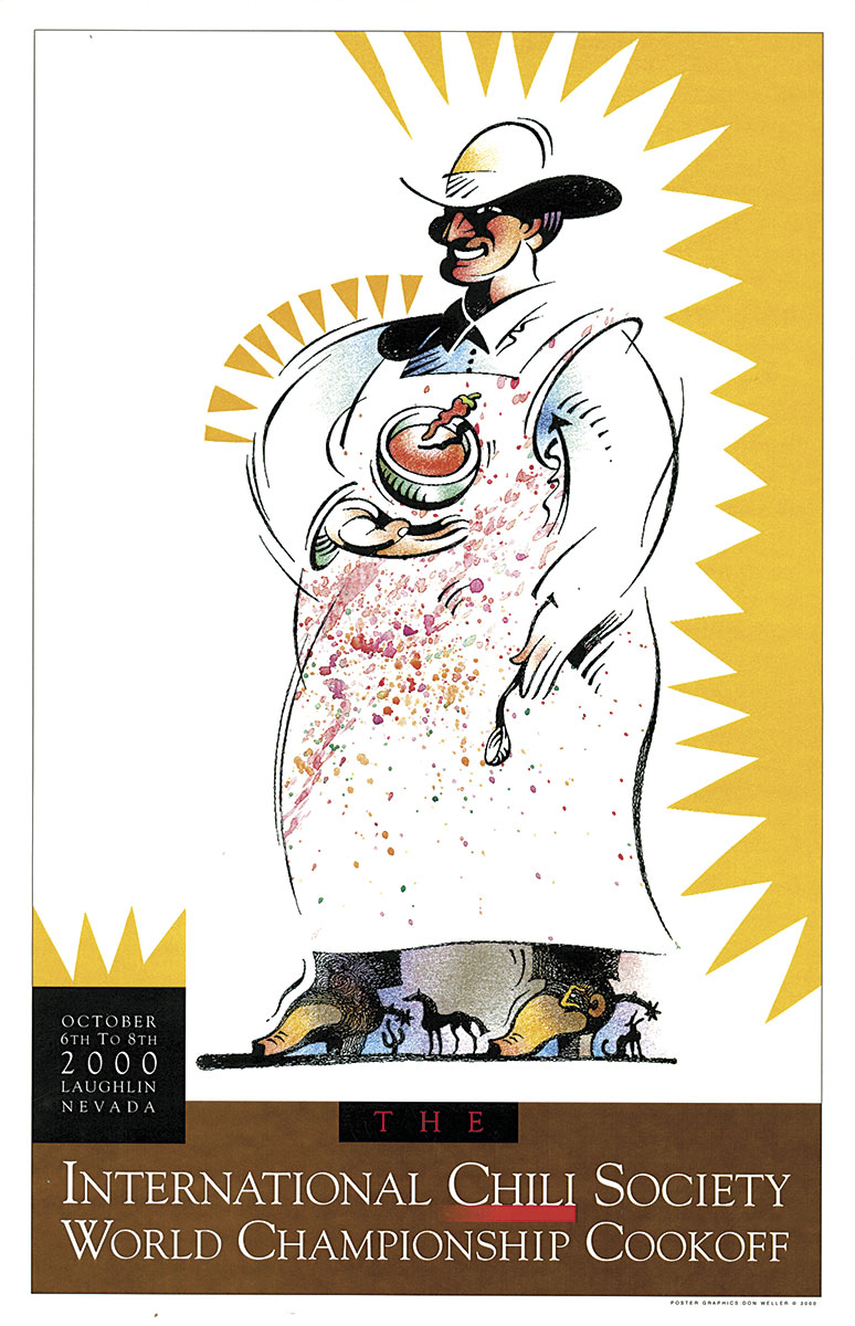 Chili competition poster featuring drawn cowboy with apron and bowl of chili