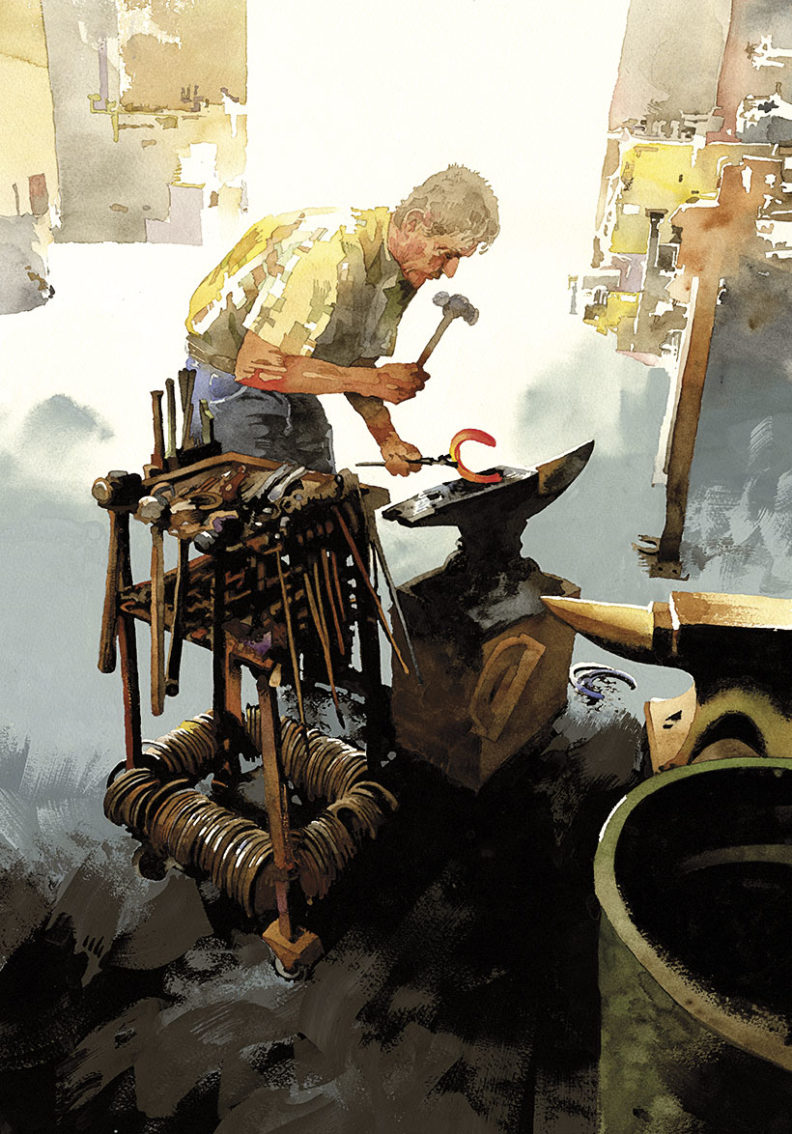 Watercolor painting of a man hammering a hot horseshoe atop an anvil