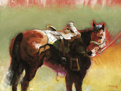 Watercolor painting of a horse with a saddle and bridle