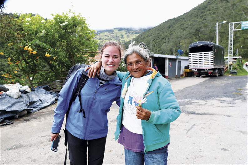 Andrea Castillo in Colombia with a refugee from Venezuela