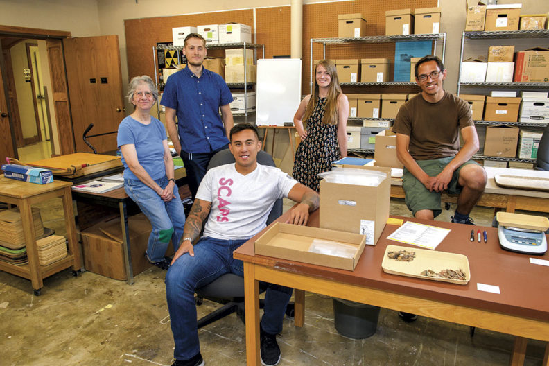 Diane Curewitz, Stephen Bergquist, Chris Sison, Cassady Fairlane, and Trent Raymer in the WSU Museum of Anthropology