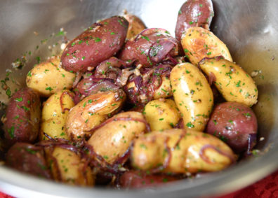 Seasoned fingerling potatoes. Photo Shelly Hanks