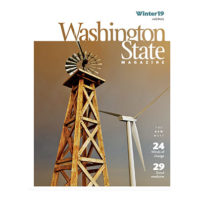 Cover of Winter 2019 issue of Washington State Magazine with old and new windmills