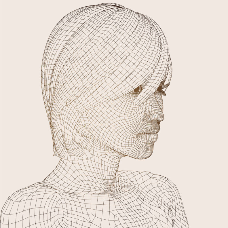 Wirefame design of a woman's head