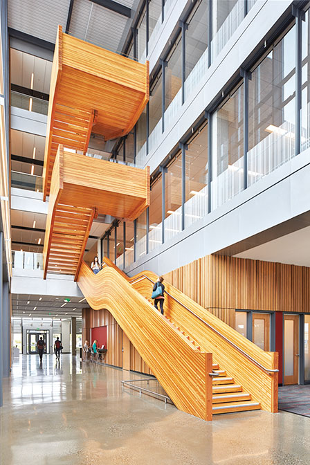 Stairs constructed with CLT at WSU Everett