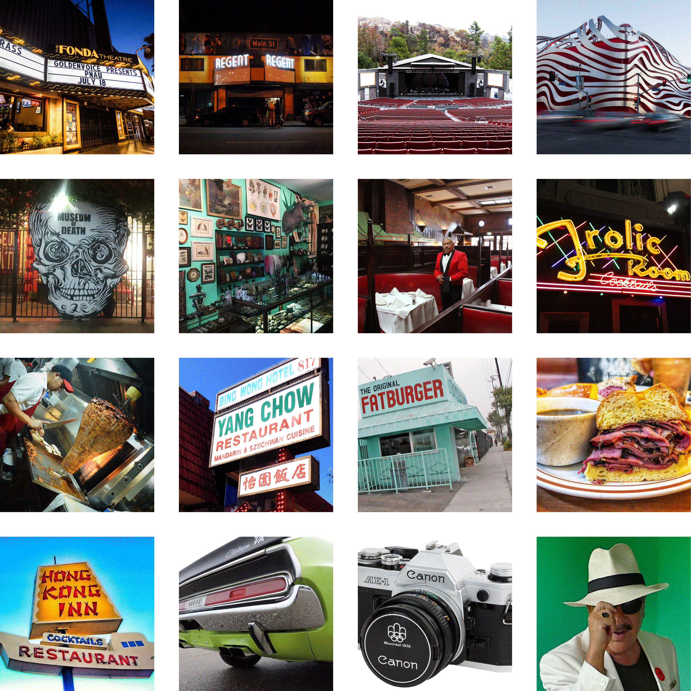A collage of photos from locations around Los Angeles