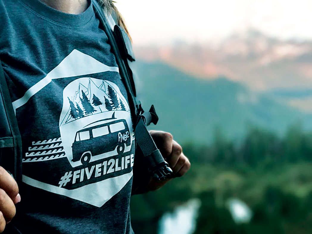 Hiker with Five12 t-shirt