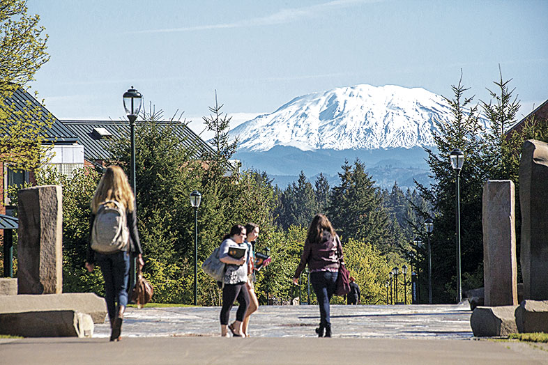 WSU Vancouver campus with Mount St. Helen's in the background