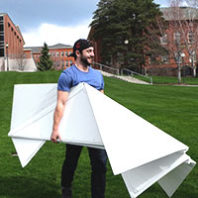 WSU student with foldable house