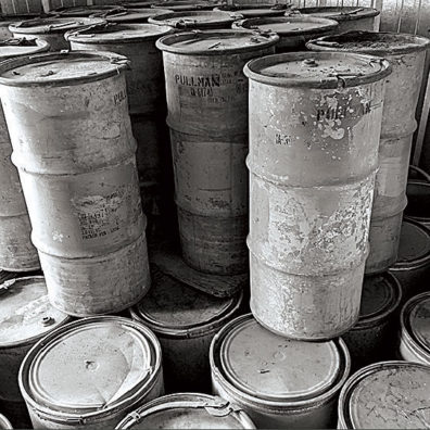 Barrels of ash from the 1980 eruption of Mount St. Helens