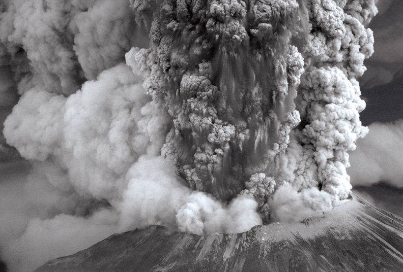 Ash and steam rises from Mount St. Helens on May 18, 1980