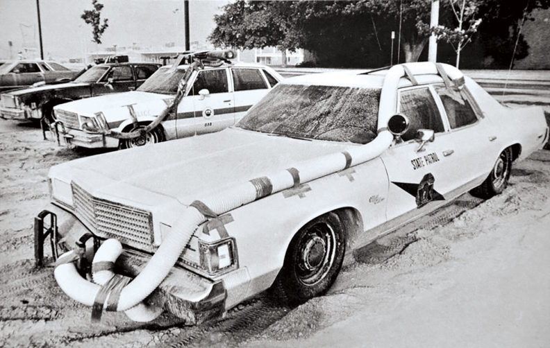 Washington State Patrol car in 1980 with ventilation tubes after Mount St. Helens eruption