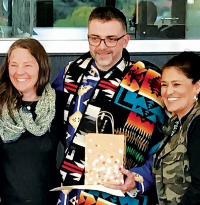 Barry Warren with Ti'tooqan Cuukweneewit project WSU faculty Francene Watson (at left) and Renée Holt.