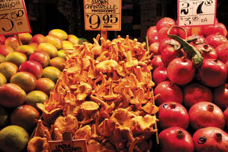 Grown chanterelles at Pike Place Market