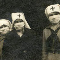 Red cross volunteers joined in Pullman's celebration of Armistice Day in 1918, wearing masks.
