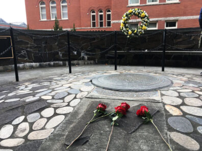 WSU Veterans Memorial in Pullman with roses on it