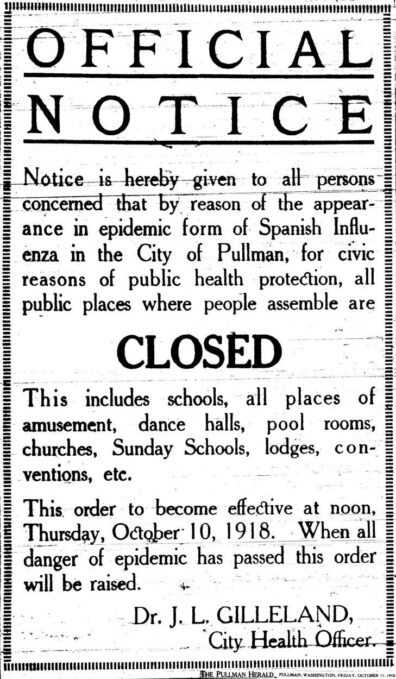Notice of campus closure at Washington State College due to 1918 Pandemic