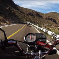 Pedro Castro point of view on a motorcycle riding on a highway