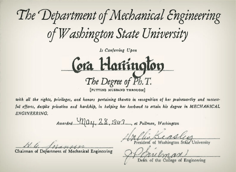 Cora Harrington certificate for supporting husband during degree