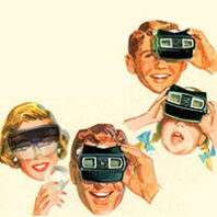 Illustration of family looking through VR in a vintage style