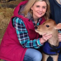 Jill Smith with calf
