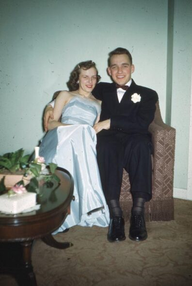 Duane Stowe and Arleen Hill in formal attire at WSC in 1951