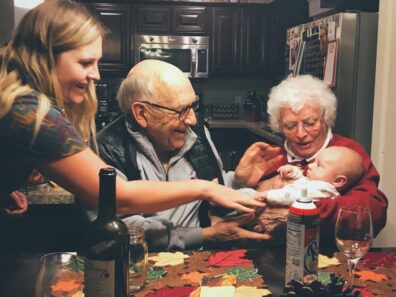 Thanksgiving with great-grandson John Duane Timberlake and granddaughter Ashley Stowe