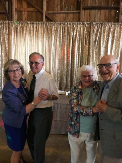 Garland and Avis Robinson with Duane and Arleen Stowe dancing at 2018 wedding