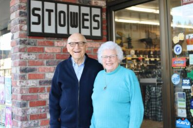 Duane and Arleen Stowe at Stowes Shoes and Clothing, 2019