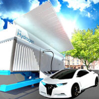 Car by small hydrogen fueling station. Courtesy The Protium Company