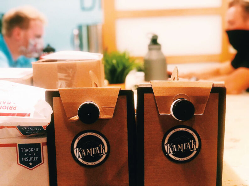 Coffee in to-go cartons from Kamiak Coffee
