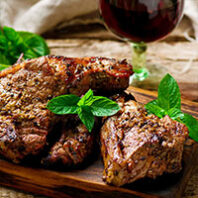 Roast lamb with mint