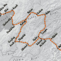 Map of the Iditarod sled race route 2020