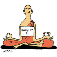 illustration of a bald monk in a robe meditating with a sign that reads Back in 5