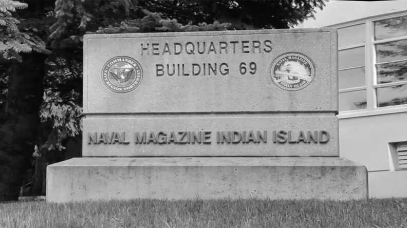 Headquarters sign at Naval Magazine Indian Island