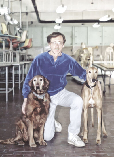 Paul Johnson with two dogs at WSU