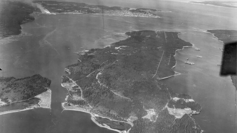 Indian Island in Puget Sound from the air in 1948