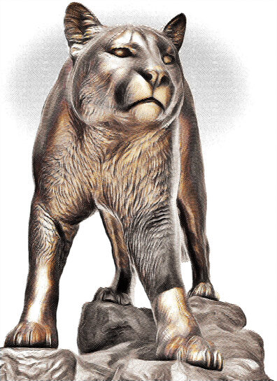 Illustration of cougar statue located on WSU Pullman campus