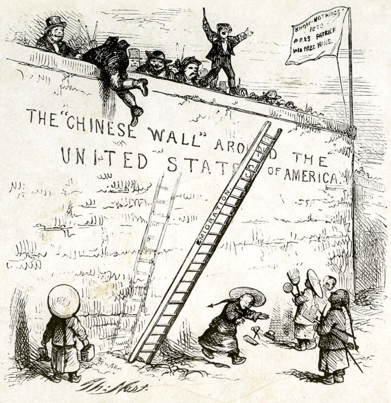 Cartoon about Chinese wall around US to exclude Chinese workers in 1870