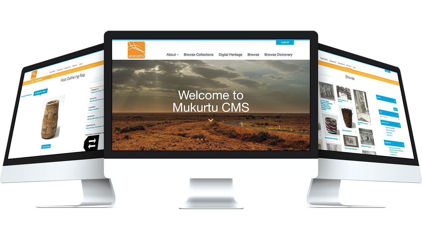 Pages of Mukurtu CMS on computer screens