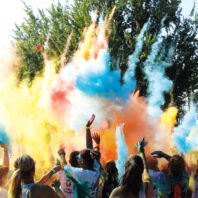 Paint bombs shoot colors into the air at a 2015 race at WSU