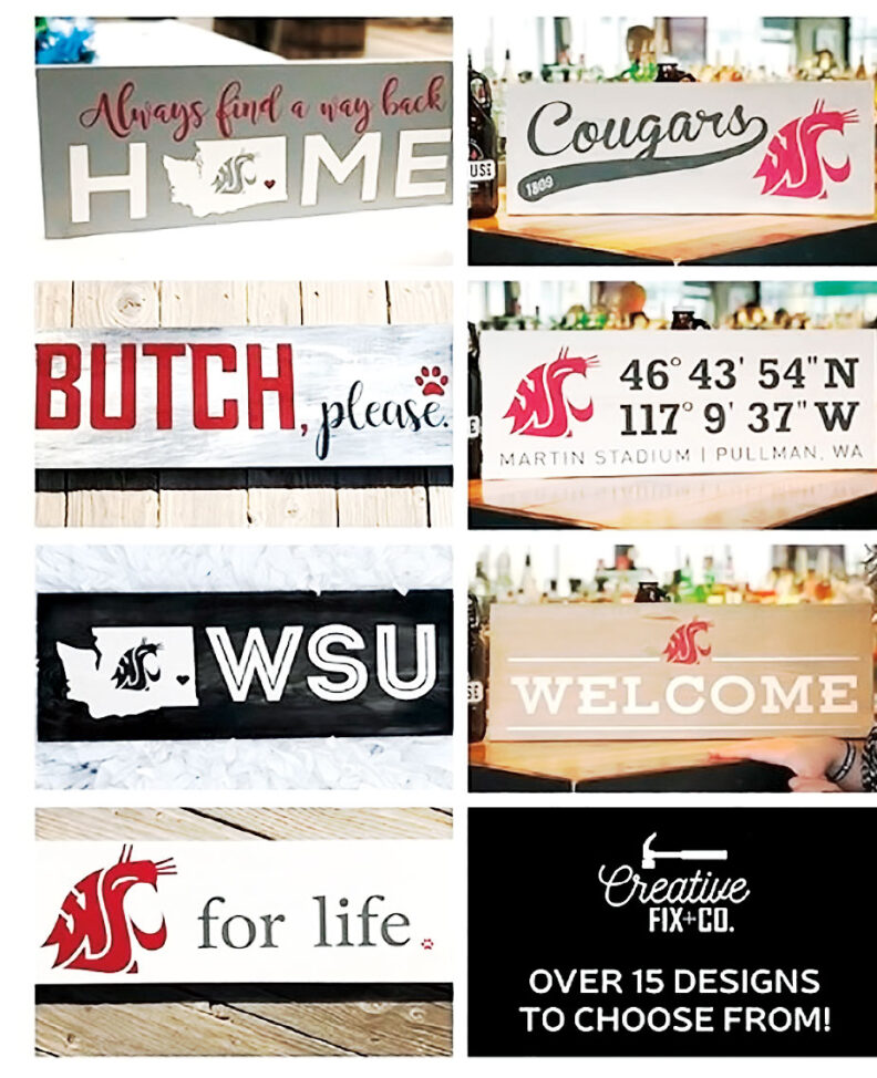 Washington State University spirit signs painted by students