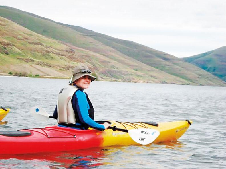 Donna Vingelen in kayak on the Snake River in Washington