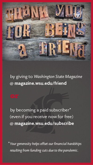 ad for Washington State Magazine calling for donations